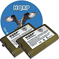 HQRP TWO Phone Batteries for Panasonic KX-TD7685, KX-TD7694, KX-TD7695, KX-TD7896, KX-TG2352 Cordless Telephone plus Coaster