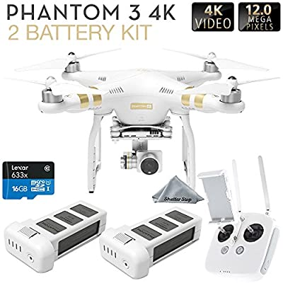 DJI Phantom 3 4K Quadcopter Aircraft with 3-Axis Gimbal and 4k Camera Dual Battery Bundle from DJI