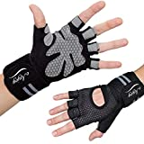 Workout Gloves with the Strongest Wrist Support ; Crossfit Gloves / Gym Gloves for Men and Women; Durable Neoprene with Extra Leather and Silicone Padding for Full Palm Protection and Strong Grip