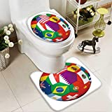 aolankaili U-shaped Toilet Mat-Soft Soccer ball with world flags isolated on white 2 Piece Toilet Toilet mat