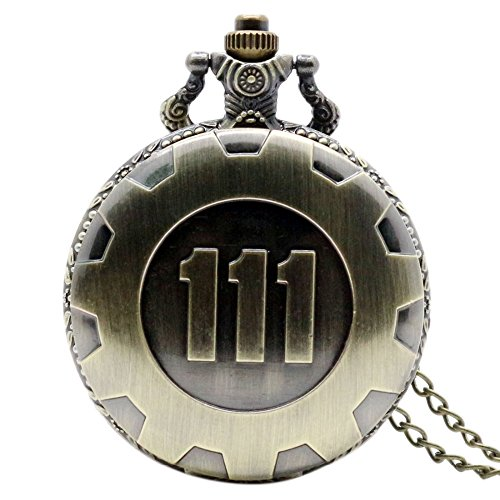 Clockworkshop Hot Game Fallout 4 Theme Pendant Vault 111 Bronze Quartz Chain Pocket Watch -