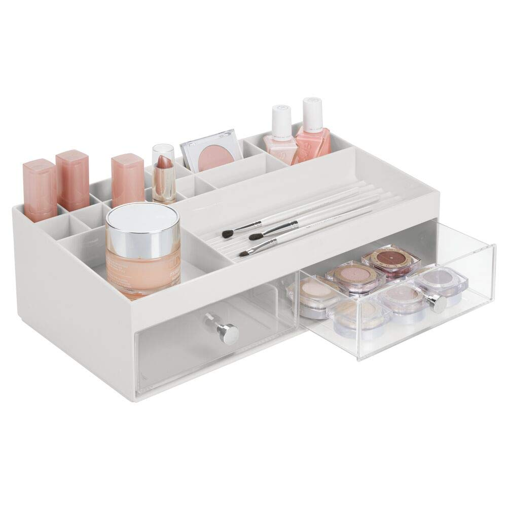 mDesign Wide Plastic Makeup Storage Caddy Organizer for Bathroom Vanity Countertop - 2 Drawers, 15 Top Shelf Compartments - Holds Lip Stick, Gloss, Blush Palettes, Brushes, Mascara - Light Gray/Clear