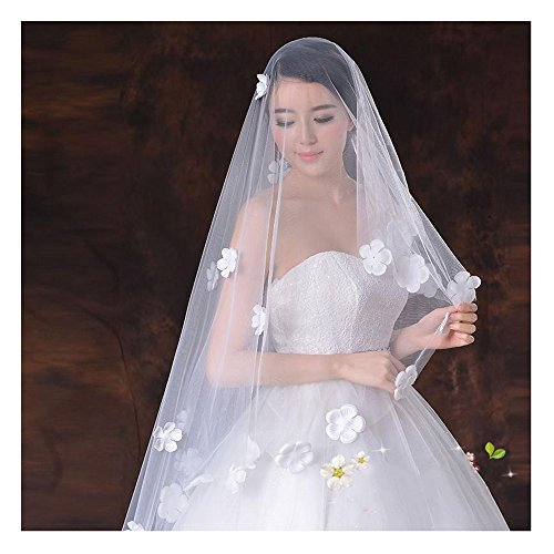 Price comparison product image KAKA(TM) Elegant White Long Flower Trailing Wedding Bridal Veil(59inch)