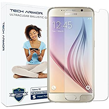 Galaxy S6 Glass Screen Protector, Tech Armor Premium Ballistic Glass Samsung Galaxy S6 Screen Protectors [1]