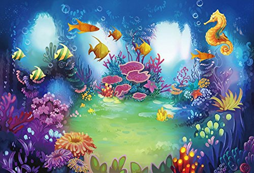 Baocicco 5x3ft Cartoon Underwater World Coral Reef Backdrop Baby Shark Party Vinyl Photography Background Cartoon Tropical Fishes Hippocampus Seaweed Children Birthday Party Children Portrait Prop -