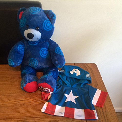 Build a Bear Captain America Superhero Teddy 16 in. Stuffed Plush Toy - America Teddy Bear