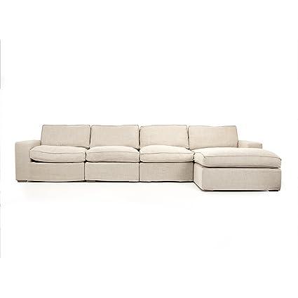 Merveilleux French Country Modern Alix Natural Light Linen Sectional Sofa