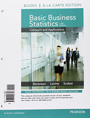 Basic Business Statistics, Student Value Edition; MyLab Statistics  for Business Statistics -- ValuePack Access Card; PHStat for Pearson 5x7 Valuepack Access Code Card (13th Edition)