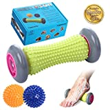 Foot Roller Massage Ball for Relief Plantar Fasciitis and Reflexology Massager for Deep Tissue Acupresssure Recovery for PLA Relax Foot Back Leg Hand Tight Muscle, 1 roller and 2 Spiky Balls