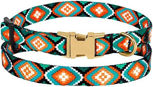 Image of CollarDirect Nylon Dog Collar with Buckle Tribal Pattern Puppy Adjustable Collars for Dogs Small Medium Large (Pattern 3, Neck Fit 7