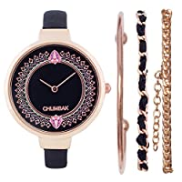 Chumbak Time Less Joy Black Wrist Watch with Bracelet