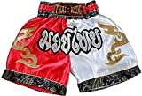 asmanjune Nakarad Kid Muay Thai Boxing Shorts White & red Size XS for 5y -6y