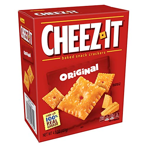 Cheez-It Baked Snack Cheese Crackers, Original, 4.5 oz Box(Pack of 12)