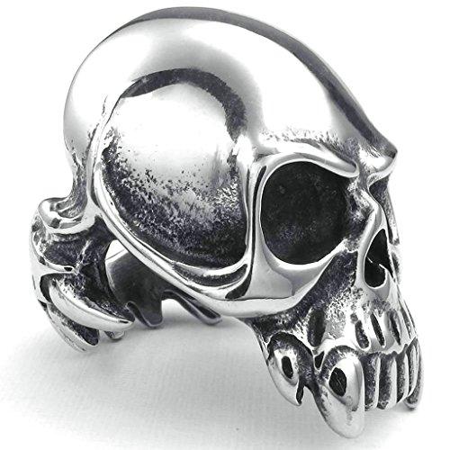 Daesar Stainless Steel Rings Mens Bands Punk Skull Rings Silver Black Ring for Men Size:12