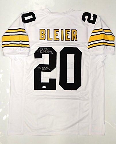 Rocky Bleier Autographed Pro Style White Jersey w/ 4X SB Champs and JSA (Autographed Authentic Style White Jersey)
