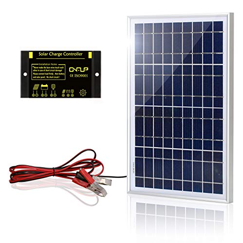 Solar 10w Kit (SUNER POWER 10 Watts 12V Off Grid Solar Panel Kit - Waterproof 10W Solar Panel + Photocell 10A Solar Charge Controller with Work Time Setting + 6.5ft Battery Clamp Extension Cable)