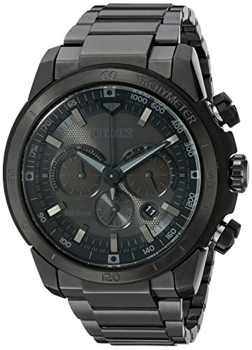 Citizen Mens Black Dial Watch - Citizen Men's Eco-Drive Chronograph Stainless Steel Watch with Date, CA4184-81E