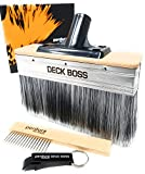 Perdura DECK BOSS Deck Stain Brush Fence Floor Applicator - HUGE 7 inch Deck Paint Brush - Stain Seal and Paint Fast! - Outlasts other Paint Tools for Water and Oil based Coatings on Wood and Concrete