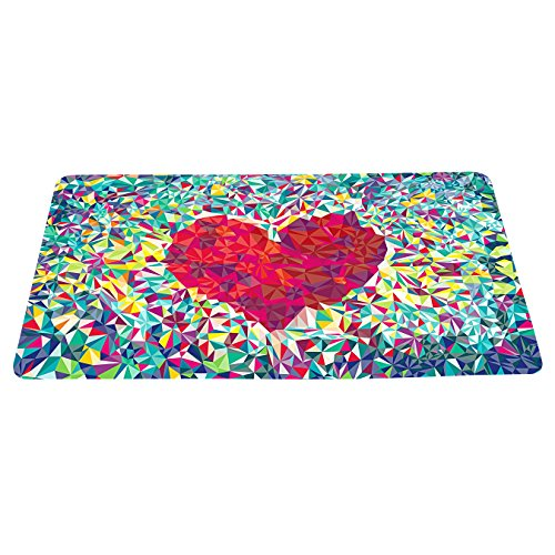 (Abstract Love Colorful Doormat Loving Heart Floor Mat With Non-Slip Backing Bath Mat Rug Excellent Home Decor 23.6