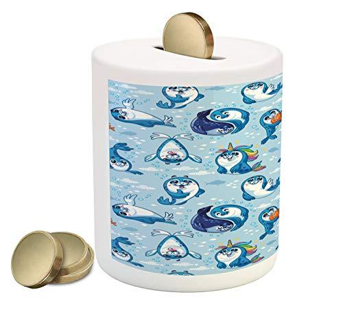 Ambesonne Sea Animals Piggy Bank, Seal Pup Cartoon Aquatic Wildlife Friendly Hugging Water Bubbles Kids, Printed Ceramic Coin Bank Money Box for Cash Saving, Blue White Marigold ()