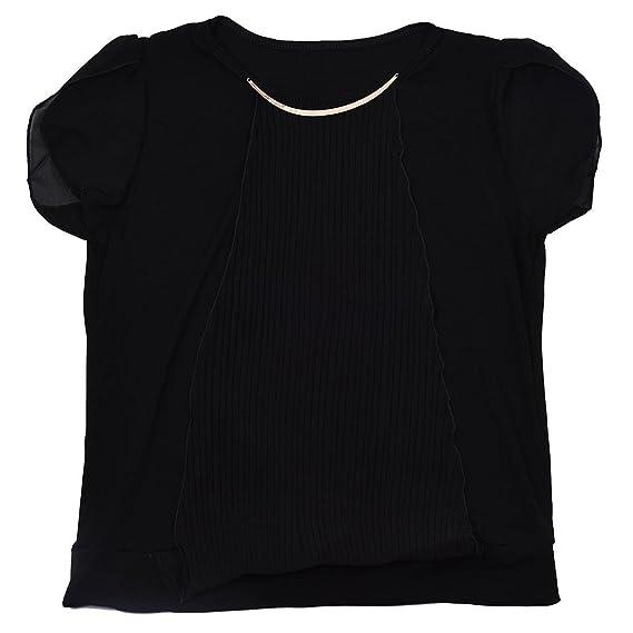 SODIAL(R) Nuevo Blusa de verano de mujer Blusa de encaje chiffon solido de manga corta Blusas vestido informal Negro S: Amazon.es: Ropa y accesorios