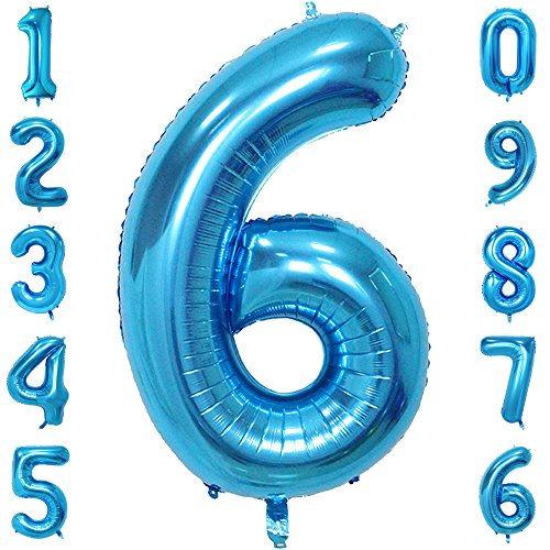 1973 OI 40 Inch Giant Blue Number Balloons Mylar Foil Large Number 6 Big Helium Balloon Birthday Party -