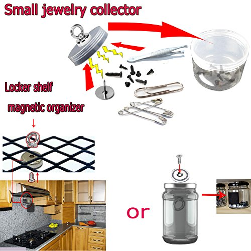 MAGNETIC ORGANIZER Super-Strong-Small POWERFUL Heavy Duty Neodymium EYEBOLT MAGNET-Great For organizing Indoor/Outdoor,Kitchen,Workshop,Home And Will Not Scratch / Silver / 2 Pieces (D36mm(50LB)) by EHOLIFE (Image #7)