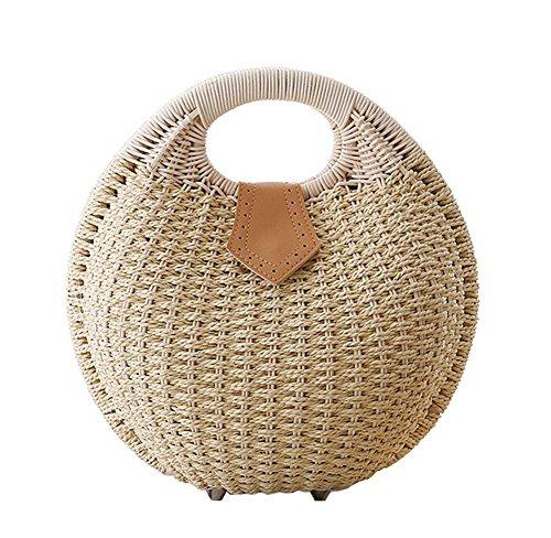 Tonwhar Lady's Stylish Shell Shape Straw Tote Handbag Rattan Beach Bag (Beige)
