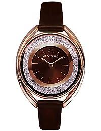 Rhinestone Waterproof Lady Quartz Watch Fashion Leather Women Watch Casual Ellipse Rose Gold Wrist Watch (Brown)