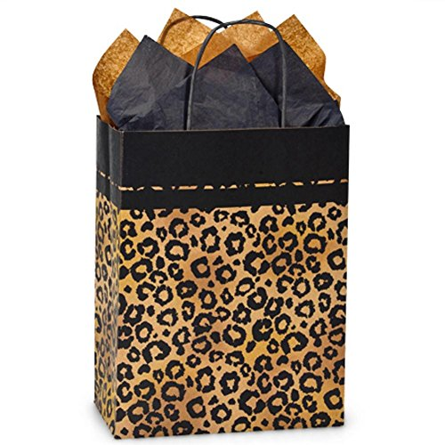 Leopard Safari Paper Shopping Bags - Cub Size - 8 1/4 x 4 3/4 x 10 1/2in. - 200 Pack by NW