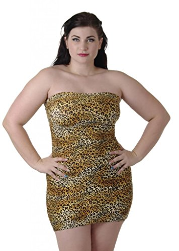 Delicate Illusions Plus Size Print Lycra Tube Dress 7X (26-28) Gold Cat