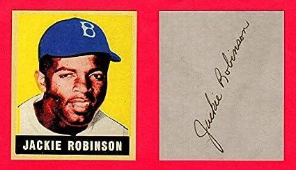 Jackie Robinson 1949 Leaf Baseball Rookie Reprint Card Wfacsimile Signature On Back Of Card Original Back And Size Dodgers