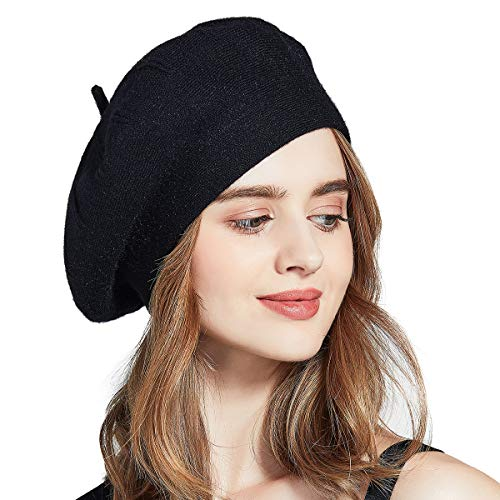 French Style Black Wool Hat - ENJOYFUR Berets for Women,French Style Solid Color Beret Hats,Lightweight Classic Wool Beret for Women,Stretchable Artist Hat