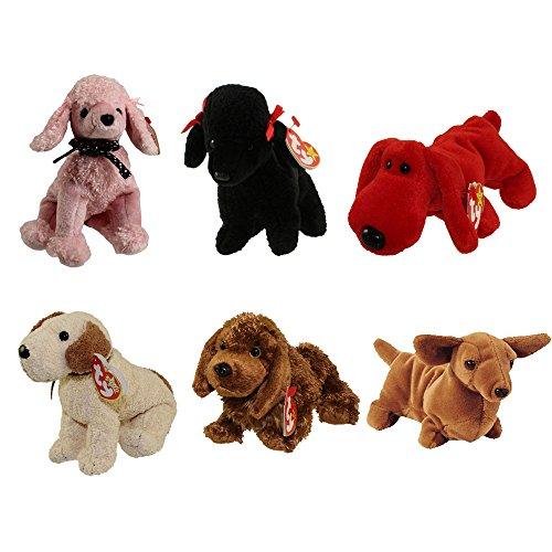 Rufus Dog - TY Beanie Babies - DOGS (Set of 6) (Brigitte, Gigi, Rover, Rufus, Seadog & Weenie) (5.5-7.5 inch)