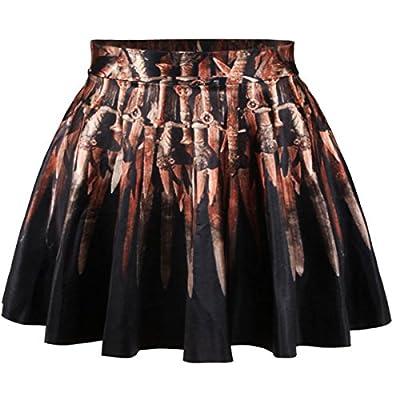 Erlking Women's Oil Printing Versatile Stretchy Flared Skater Skirt