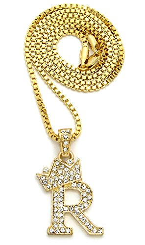 King Costume Jewelry (Crown Iced Out King Crown Small Initial Letter Pendant with 24