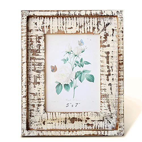 (BOLUO Farmhouse Picture Frames 5x7 Distressed Wood Natural Rustic Photo Frame Weathered Farm Decor)