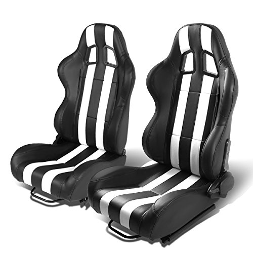 Set of 2 Universal Dual Vertical Stripes Type-R PVC Leather Reclinable Racing Seats w/Sliders (Black/White) ()