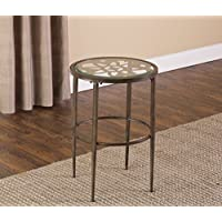 Hillsdale 5497-880 Marsala End Table, 17.25, Gray Finish with Rubbed Brown Accents