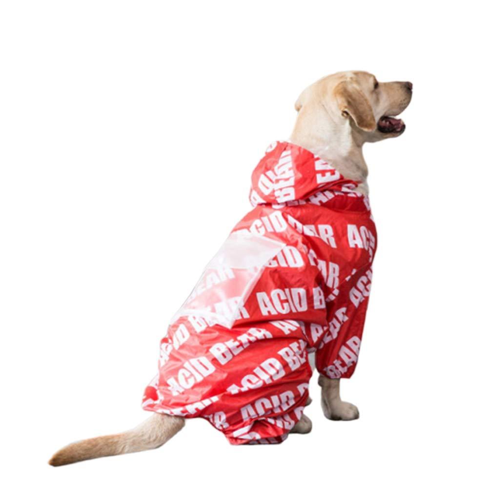 4XL Dog Raincoats Waterproof, Red Dog Raincoat, Waterproof Rain Jacket with Hood Collar Hole, Lightweight Packable Outdoor Dog Hooded Raincoat for Medium Large Breed Dog,4XL