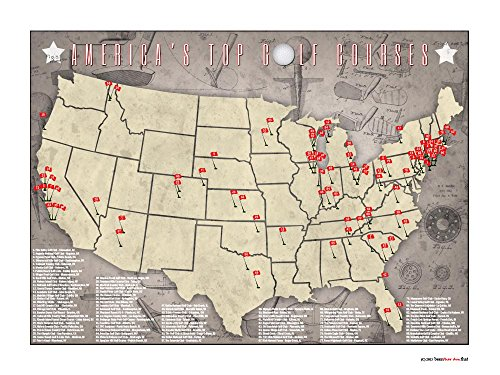 Benthar Dunthat PGA Pro Golfer Top US Golf Courses Tracking Location Golfing Map Print, 24x18