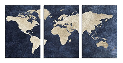 Canvas Wall Art Painting Antique Abstract World Map Background General 3 Pieces Giclee Prints, Waterproof Artwork Picture Framed Ready to Hang for Living Room Bedroom Home Office Wall Decor (General Map)