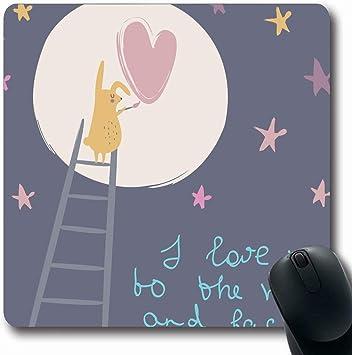 Alfombrillas para Computadoras Tiza de vivero Te Amo Luna Volver Valentine27s Vida Silvestre Escalera Conejo Bebé Negro Pizarra Diseño Antideslizante Oblong Gaming Mouse Pad: Amazon.es: Electrónica