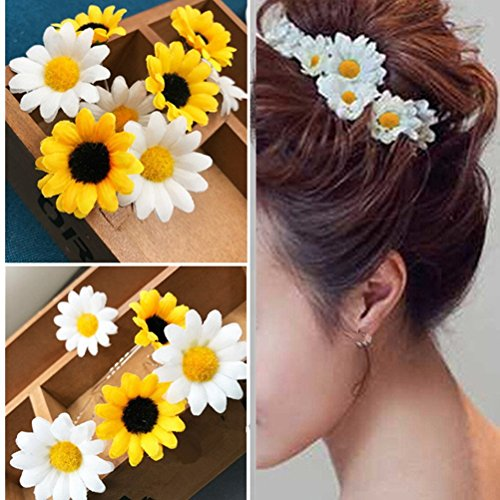 (cuhair 10pcs Wedding Party Dinner U Style Sunflower Hair Clip Hair Barrette Hair Pin Hair Accessories For Women Girl)