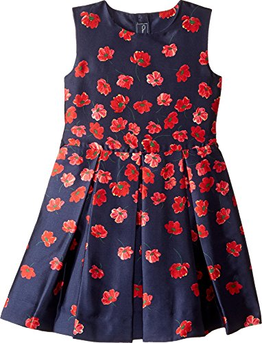 OSCAR DE LA RENTA Childrenswear Baby Girl's Degrade Poppies Mikado Party Dress (Toddler/Little Kids/Big Kids) Navy/Ruby 3T ()