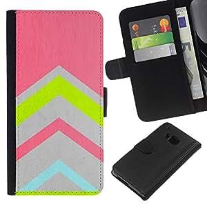 KingStore / Leather Etui en cuir / HTC One M9 / Gris azul del trullo Rosa Verde
