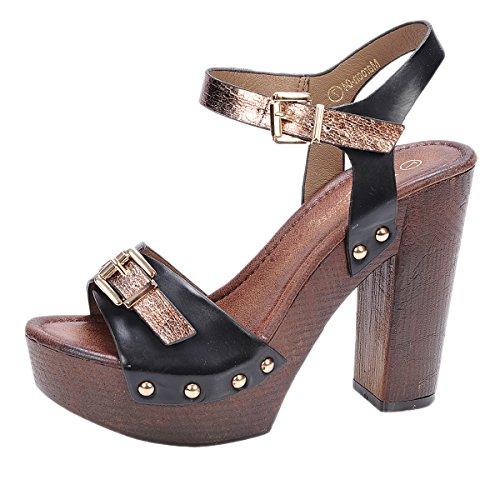 Tone Platform Sandals (Nature Breeze Women's Maroon-04 Elegant Two-Tone Chunky High Heel Wooden Platform Buckle Sandal (8.5 B(M) US, Black))