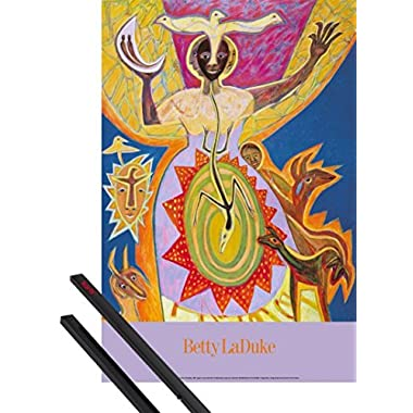 Poster + Hanger: Betty LaDuke Poster (36x24 inches) Africa: Osun Magic and 1 set of black 1art1 Poster Hangers