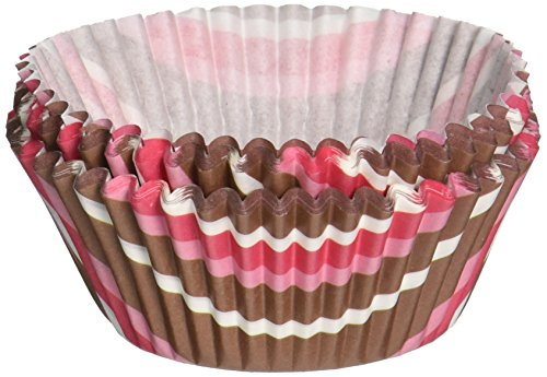 Fox Run Pink and Brown Stripe Bake Cups, 50 Bake Cups