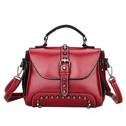 Retro Messenger Bag, Fashion Women's Rivets Leather Shoulder Bags Small Corssbody Bag&Handbag Red
